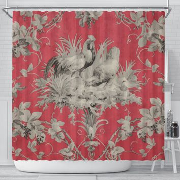 Farmhouse Chic Bathroom Decor Shower Curtain Rooster Chickens Vintage