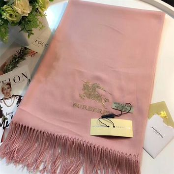 Best Online Sale Luxury Burberry Keep Warm Scarf Embroidery Scarves Winter Wool Shawl Feel Silky And Delicate - Pink