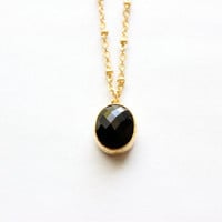 "Gold Necklace - Stone Necklace - Long Necklace - 24"" - Onyx Black Glass Stone Pendant on Matte Gold Chain"