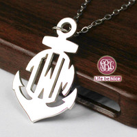 1 inch monogram necklace 925 sterling silver necklace,personalized 3 initial monogram necklace