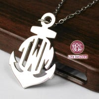Anchor monogram necklace--1.25  inch 935 sterling silver monogram pendant necklace