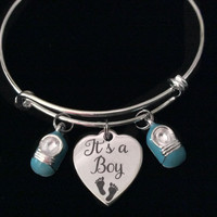 It's A Boy Blue Baby Booties Silver Expandable Charm Bracelet Adjustable Wire Bangle New Mom Gift