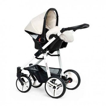 Venicci Vento Travel System - White Chassis - Cream at Winstanleys Pramworld