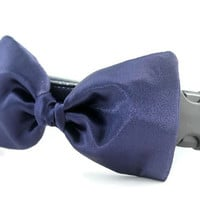 Navy Blue Bow Tie Dog Collar - Dog Bow Tie Collar - Wedding Attire for Dogs - dog wedding - navy blue satin dog bow tie - formal dog bow tie