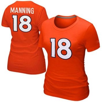 VZ VARE ZANE Official American Football T Shirts  Denver Peyton Manning T Shirt Broncos T Shirts Women Color Rush