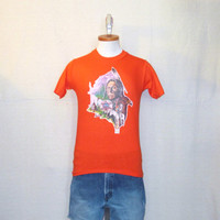 Vintage Deadstock 70s NATIVE AMERICAN GRAPHIC Eagle Tribal Horse Orange Small 50/50 T-Shirt