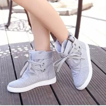 Spring Women Sneakers Walking Shoes Lace-up Ankle Canvas Shoes Girls Students Flats Outdoor Jogging Shoes CU855393