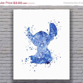 Stitch Print Lilo and Stitch Disney Print Disney Nursery Disney Art Watercolor Printable Disney Wall Art Kids Poster Digital Download Art