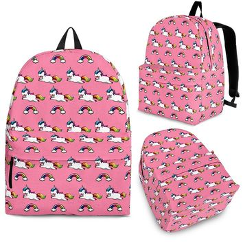 Seamless Unicorns and Rainbows Pink and Purple Backpack