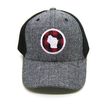 Wisconsin Trucker  Herringbone Trucker Hat - Red Buffalo Check Patch