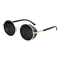 Fabulous 2015 1pc Mirror Lens Round Glasses Cyber Goggles Steampunk Sunglasses Vintage Retro style Shades