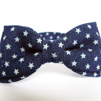 Men's Bow Tie by BartekDesign: pre tied denim navy blue stars usa fun party men new years eve