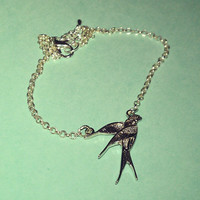Swallow Anklet - Silver plated. Extendible