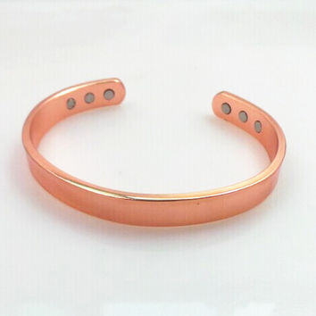 genuine vintage 100 pure magnetic health solid copper bangle bracelet arthritis pain relief healing for men and women