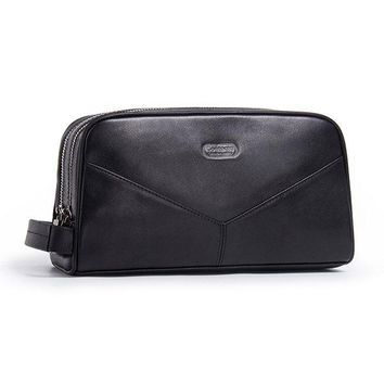 Large Capacity Double Zipper Genuine Leather Clutch Bag