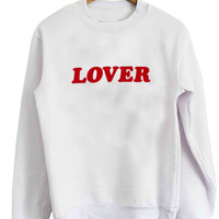 LOVER Women's Casual Black Dark Grey Pink & White Crewneck Sweatshirt