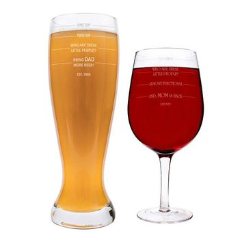 Personalized Parent Measuring XL Beer and Wine Glass Set