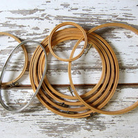 8 vintage embroidery Hoops, circles for Embroidery or Needlework