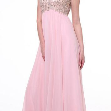 Cinderella Divine 72 Sweetheart Illusion Neck Empire Cap Sleeves Blush Evening Gown