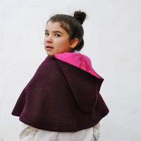Winter Fashion - Boiled Wool Cape - Toddler Girls Capelet Shrug - Burgundy Purple - Size 12 months 1T to 3T