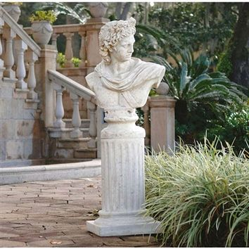 SheilaShrubs.com: Apollo Belvedere Sculptural Bust on Roman Column Plinth NE930309 by Design Toscano: Garden Sculptures & Statues