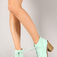 Qupid Varsity-01X Suede Lace Up Ankle Bootie