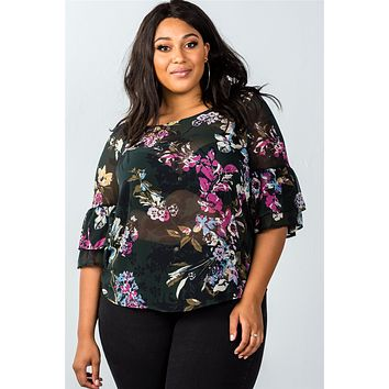 Ladies fashion plus size olive and rose floral sheer print top