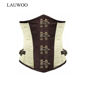 VONEGQ LAUWOO Brown Retro Sexy Basque Gothic Corset Lace up Steel Boned Brocade Steampunk Corselet Underbust Red Balck S-2XL