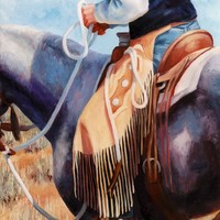 Long Fringed Chink Chaps Western Art Cowboy Painting Painting by Kim Corpany - Long Fringed Chink Chaps Western Art Cowboy Painting Fine Art Prints and Posters for Sale