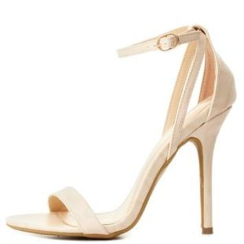 Natural Python-Textured Single Strap Heels by Charlotte Russe