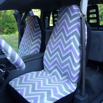 1 Set of Grey/Purple Chevron Print and Steering Wheel Cover Custom Made.