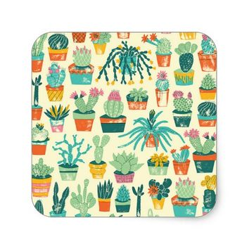 Colorful Cactus Flower Pattern Square Sticker