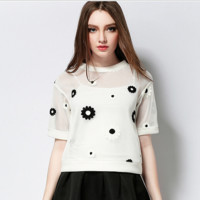 Black and White Sun Flower Embroidery Blouse