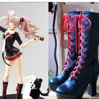 Anime Danganronpa 2 Enoshima Junko Cosplay Boots Lace Up High Heel Shoes New+Drop Shipping Pu Leather