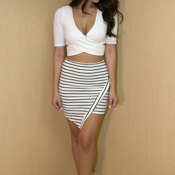 Striped Asymmetric Skirt - Black/White