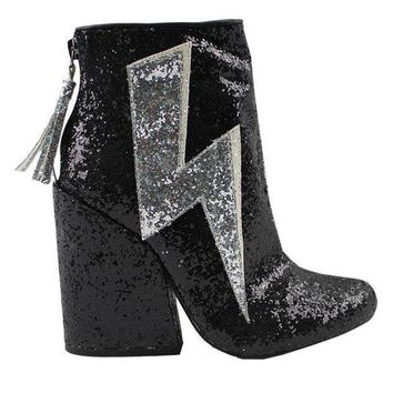 Yru Ziggy  Black Glitter Thunderbolt Boot