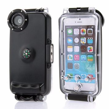 "40M/130ft 40M Underwater Waterproof Hard Diving Case IPX8 Protection Housing For iPhone 6 6S 4.7"" Waterproof Cover With Compass"