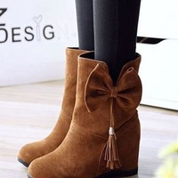 New Women Brown Within The Higher Bow Tassel Casual Ankle Boots