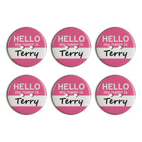 Terry Hello My Name Is Plastic Resin Button Set of 6