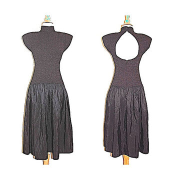 vintage black peekaboo dress . goth . grunge . tea length . by virgo II . size M