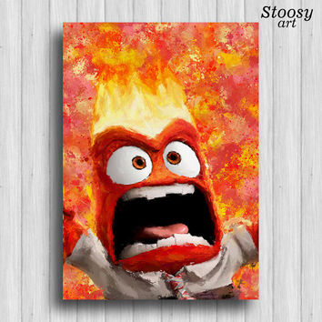 inside out anger disney poster nursery watercolor art