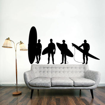 Wall Decal Vinyl Sticker Decals Art Home Decor Design Mural Surfer Surfboard Waves Sea Beach Extreme Sports Gift Kids Dorm Art Bedroom AN253