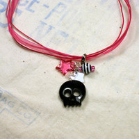 Black Skull Enhancer on Pink Necklace Hot Pink Striped Star Skeleton Funky Choker Goth Punk Indie Unique Handmade Jewelry by o2designs
