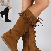 Womens Faux Suede Fringe Round Toe Lace Up Moccasin Flat Boots Lace Up Knee High