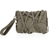 Alexander Wang Kirsten leather-strap suede clutch – 50% at THE OUTNET.COM