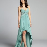 Mignon mint green embellished spaghetti strap high-low jersey knit gown | BLUEFLY up to 70 off designer brands