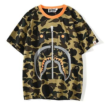 Bape Aape Tide brand shark head camouflage stitching T-shirt Green