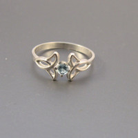Sterling Silver and Blue Topaz Celtic Ring