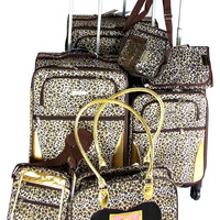 Luggage Leopard 7 Pc Travel Set 360 Spinner Wheels Messenger Gadget Pet Carrier