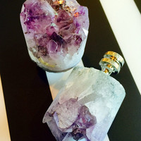 Stylish Pair of Amethyst Crystal Core Lamp Finials with Nickel Metal Bases.